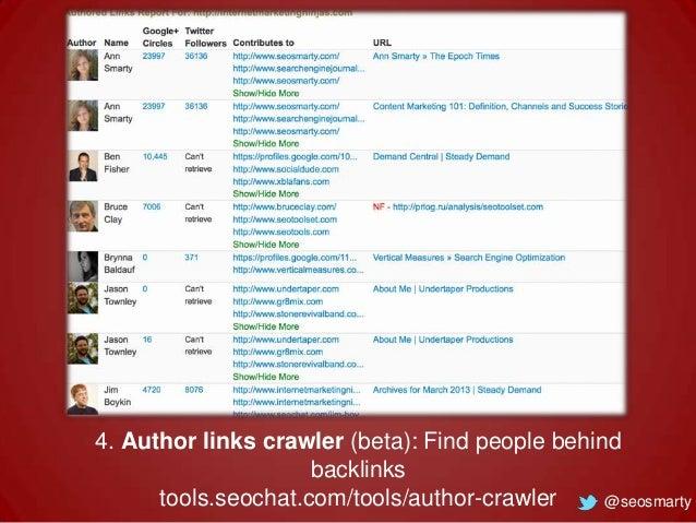 4. Author links crawler (beta): Find people behind backlinks tools.seochat.com/tools/author-crawler @seosmarty
