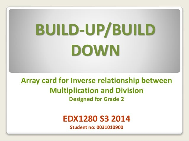 BUILD-UP/BUILD DOWN Array card for Inverse relationship between Multiplication and Division Designed for Grade 2 EDX1280 S...