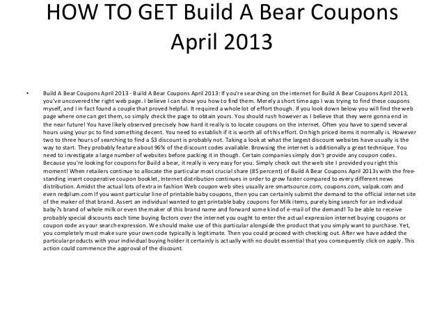 photograph regarding Build a Bear Coupons Printable named Create A Undertake Coupon codes April 2013 - Printable Create A Undertake