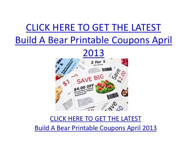 image relating to Build a Bear Printable Coupons identified as Produce A Endure Printable Coupon codes April 2013 - Acquire A Endure