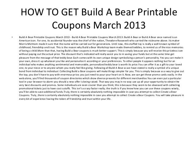 bear printable coupons march 2013 2