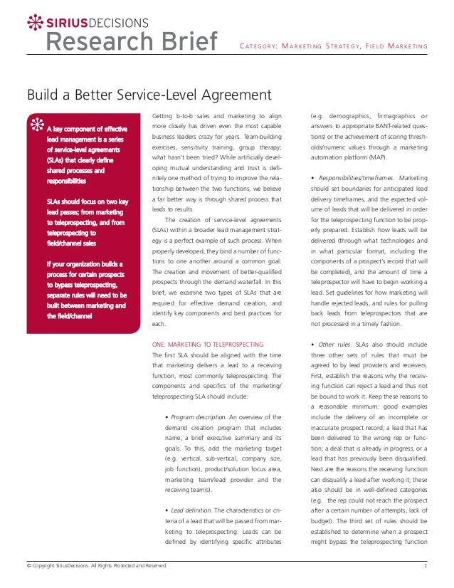 C A T E G O R Y : M A R K E T I N G S T R A T E G Y, F I E L D M A R K E T I N G  Build a Better Service-Level Agreement G...