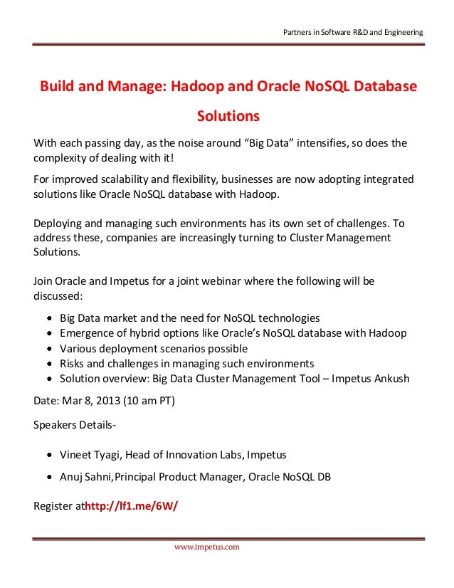 Partners in Software R&D and Engineering Build and Manage: Hadoop and Oracle NoSQL Database                               ...