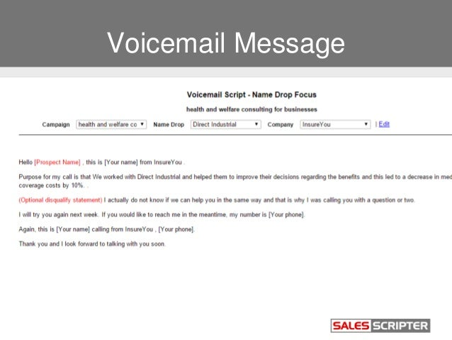 insurance voicemail template  Build a Strong Sales Pitch When Selling Insurance