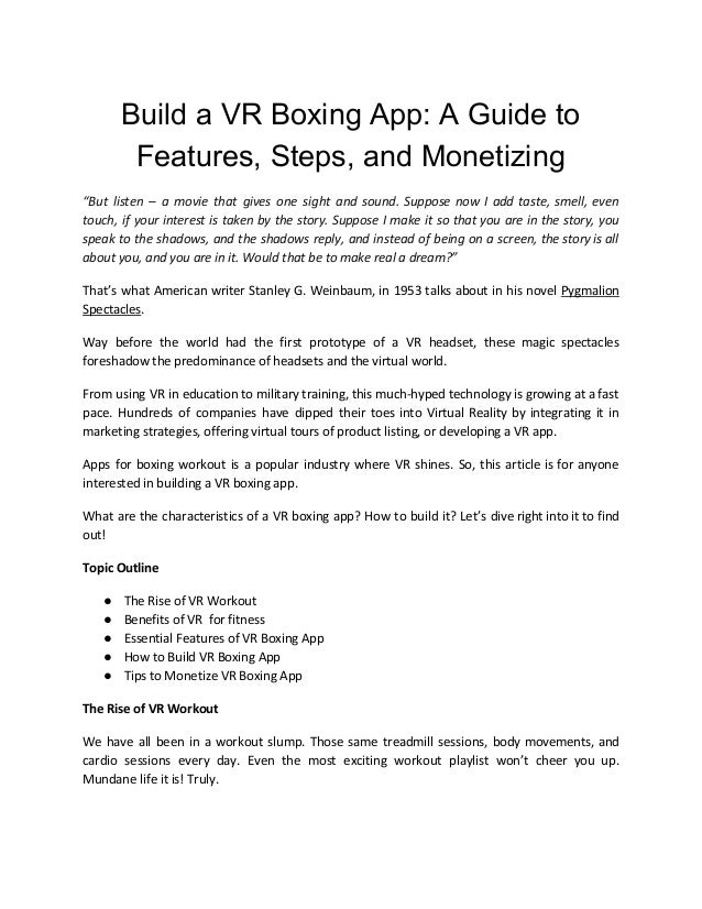"""Build a VR Boxing App: A Guide to Features, Steps, and Monetizing """"But listen – a movie that gives one sight and sound. Su..."""