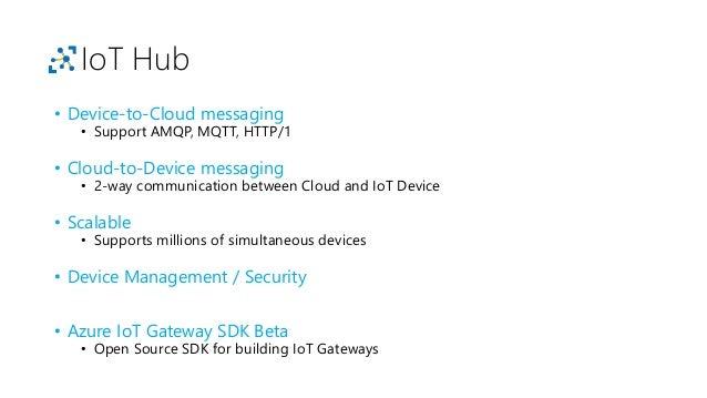 IoT Hub SDKs • Multi-platform • C • Node.js • Java • .NET • Python https://github.com/ Azure/azure-iot-sdks
