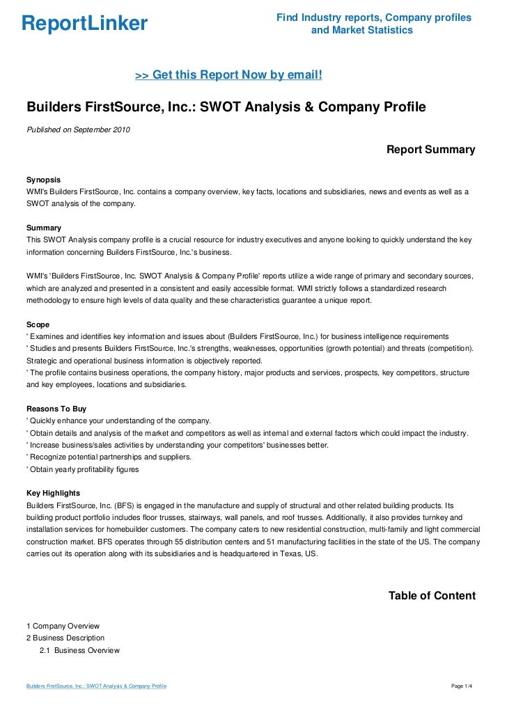 Builders FirstSource, Inc : SWOT Analysis & Company Profile