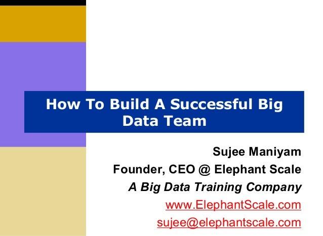 How To Build A Successful Big Data Team Sujee Maniyam Founder, CEO @ Elephant Scale A Big Data Training Company www.Elepha...