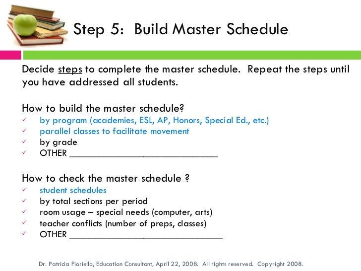 building a secondary school master schedule program dr patricia fio