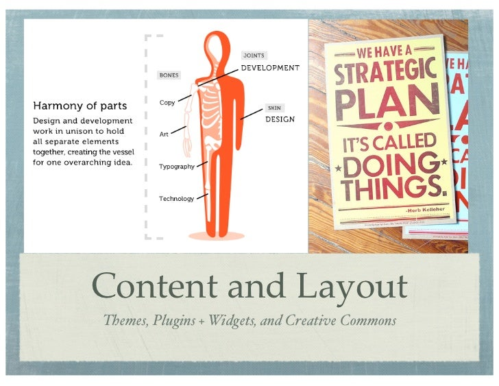 Content and LayoutThemes, Plugins + Widgets, and Creative Commons