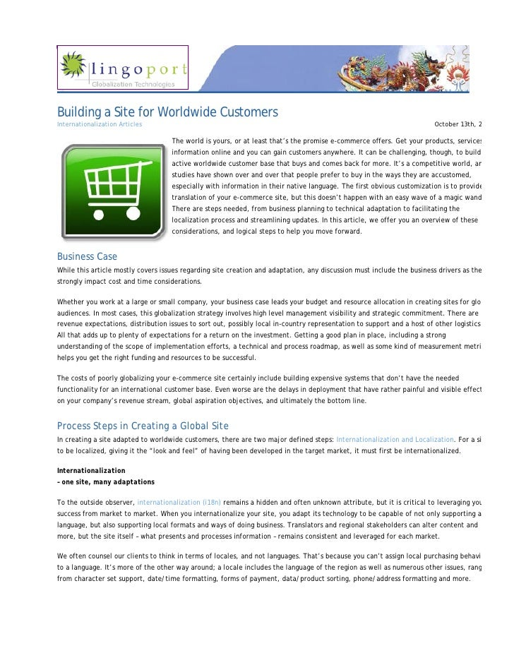 Building a Site for Worldwide Customers Internationalization Articles                                                     ...