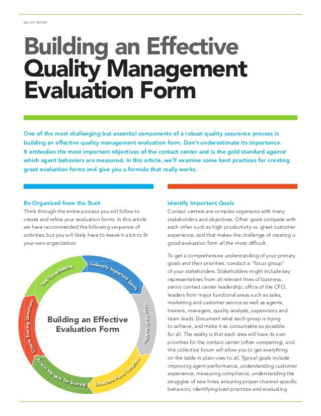 WHITE PAPER Building An Effective Quality Management Evaluation Form Be  Organized From The Start Think Through ...