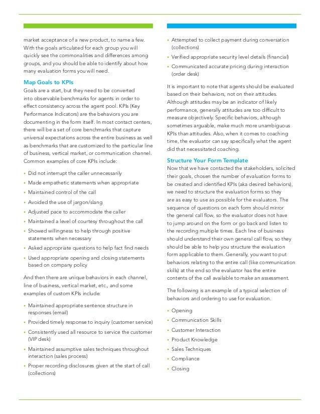 Building An Effective Quality Management Evaluation Form