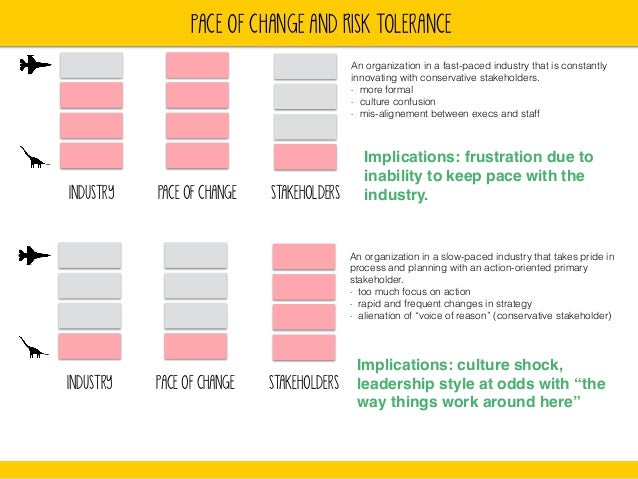 PACE OF CHANGE AND rISK TOLERANCE  INDUSTRY PACE OF CHANGE STAKEHOLDERS  An organization in a fast-paced industry that is ...