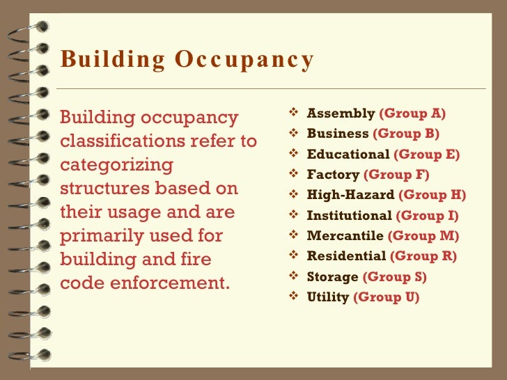 construction types and occupancy classifications Building code occupancy classifications  2008 code occupancy classifications 2008 class  short description  1968 equivalent a-1 : assembly (theaters, concert halls): with fixed seating, intended for production and viewing of the performing arts or motion pictures f-1a .