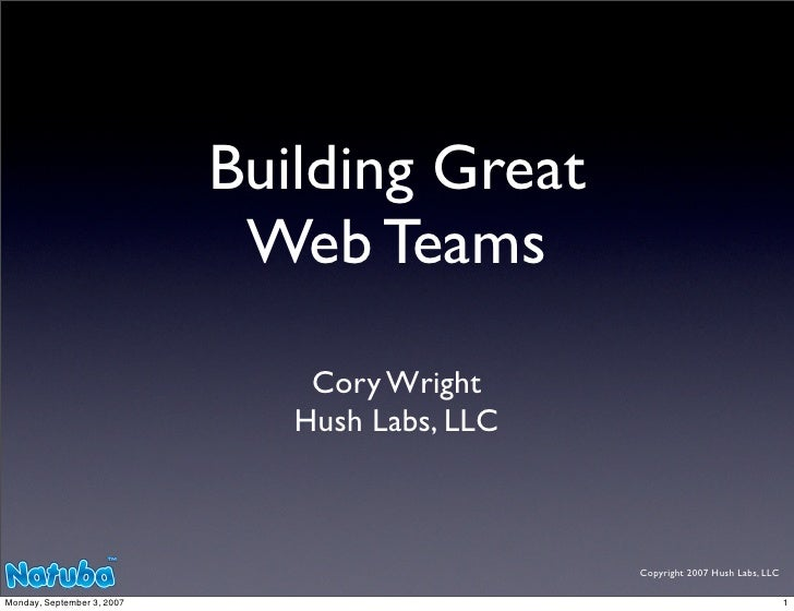 Building Great                              Web Teams                                 Cory Wright                         ...