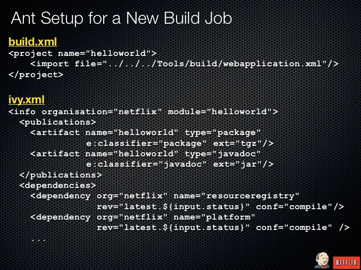 "Ant Setup for a New Build Jobbuild.xml<project name=""helloworld"">    <import file=""../../../Tools/build/webapplication.xml..."