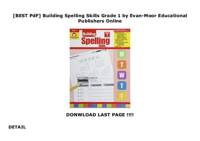 BEST PdF] Building Spelling Skills Grade 1 by Evan-Moor