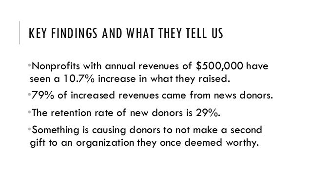 KEY FINDINGS AND WHAT THEY TELL US •Nonprofits with annual revenues of $500,000 have seen a 10.7% increase in what they ra...