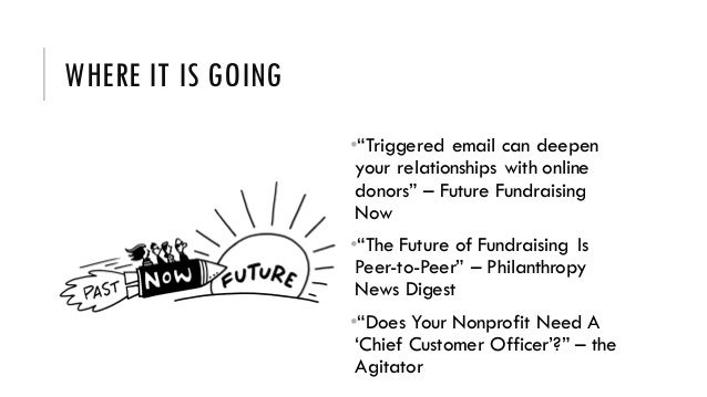 """WHERE IT IS GOING •""""Triggered email can deepen your relationships with online donors"""" – Future Fundraising Now •""""The Futur..."""