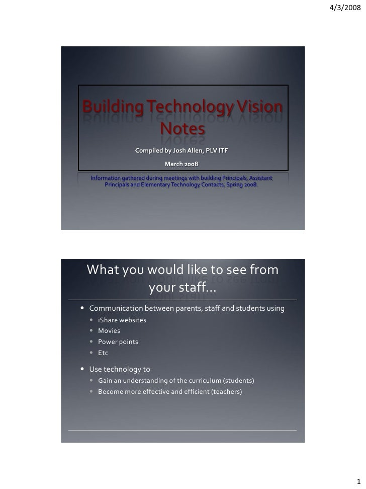 4/3/2008     Building Technology Vision           Notes     Information gathered during meetings with building Principals,...