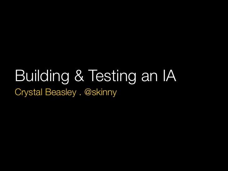Building & Testing an IACrystal Beasley . @skinny