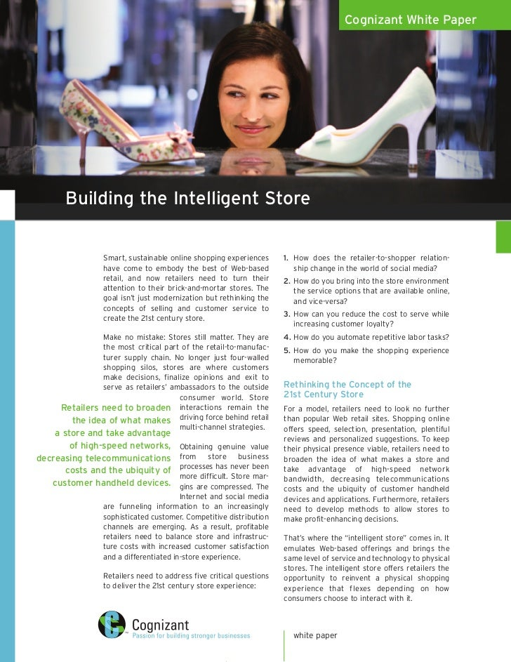 Cognizant White Paper           Building the Intelligent Store                   Smart, sustainable online shopping experi...