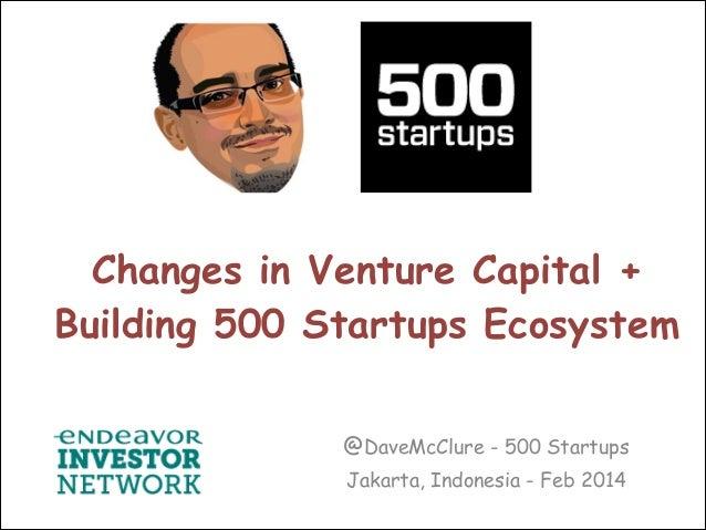 Changes in Venture Capital + Building 500 Startups Ecosystem @DaveMcClure - 500 Startups Jakarta, Indonesia - Feb 2014