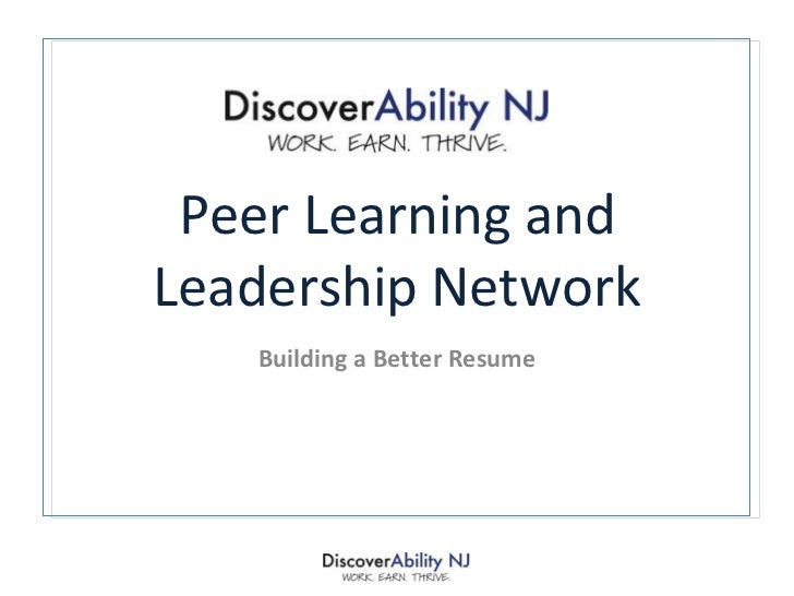 Peer Learning and Leadership Network Building a Better Resume