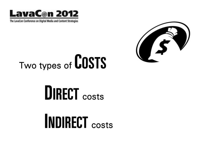 Two types of   COSTS     DIRECT costs     INDIRECT costs