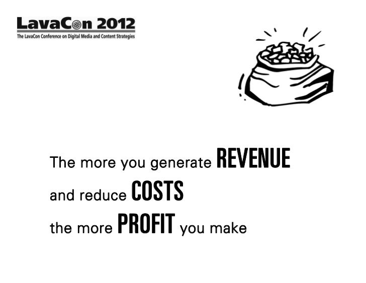 The more you generate   REVENUEand reduceCOSTSthe more PROFIT you make