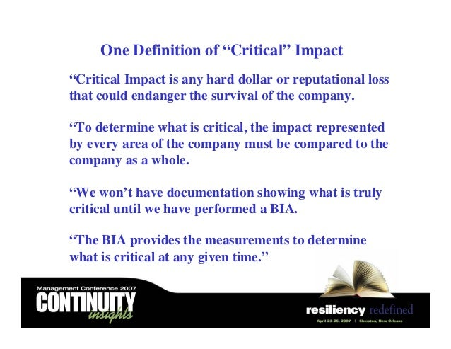 Building a business impact analysis bia process a hands on blueprint 17 one definition malvernweather Choice Image