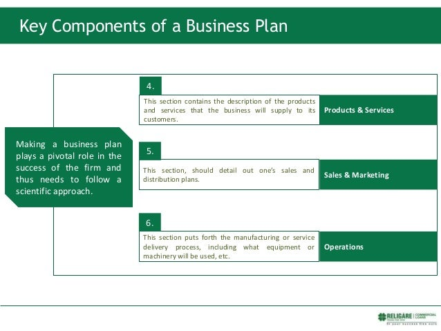 Key Components of a Business Plan Products & Services Sales & Marketing Operations This section contains the description o...