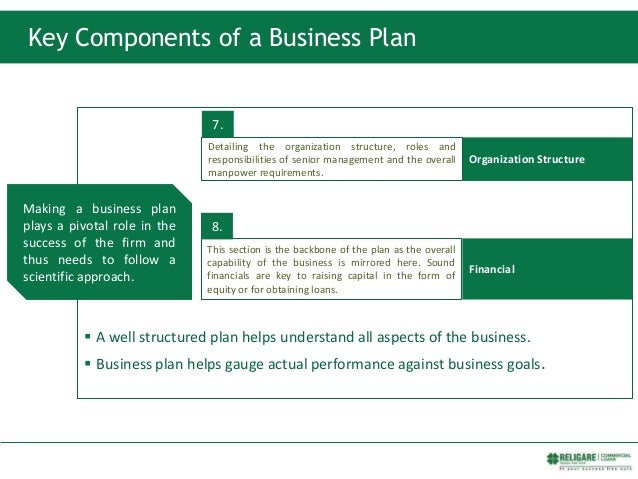 Key Components of a Business Plan  A well structured plan helps understand all aspects of the business.  Business plan h...