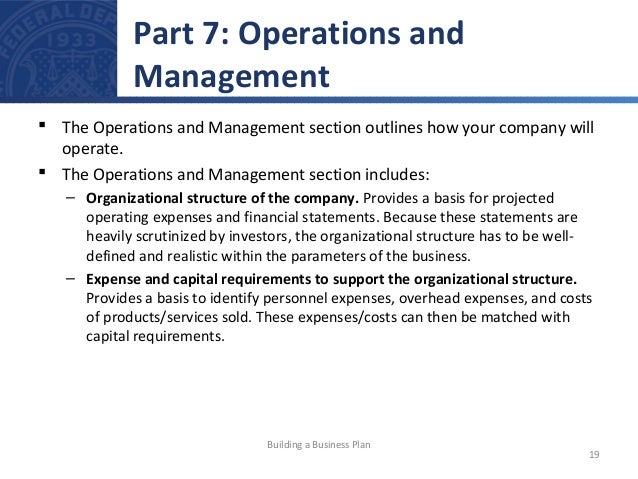 Operation and management plan in business plan