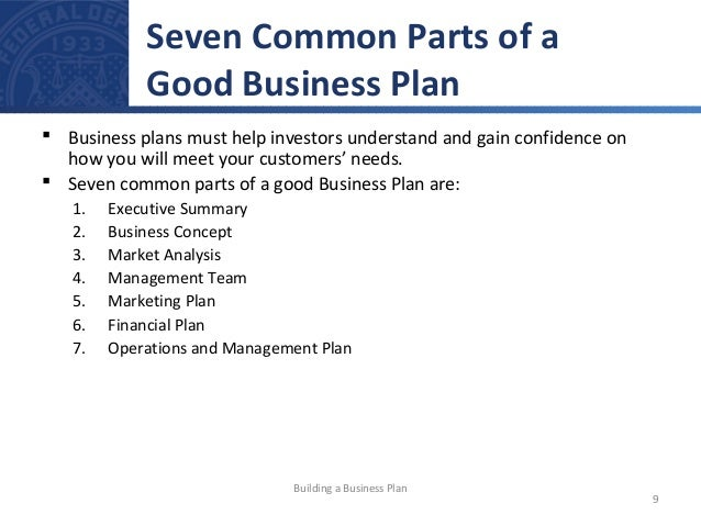 4 parts of a business plan