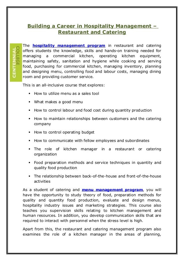 Building a Career in Hospitality Management – Restaurant and Catering The hospitality management program in restaurant and...