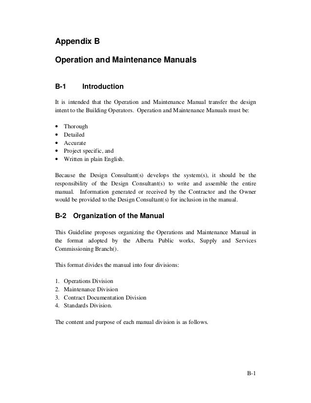 Building Operation And Maintenance Manual Example  Wiring Library