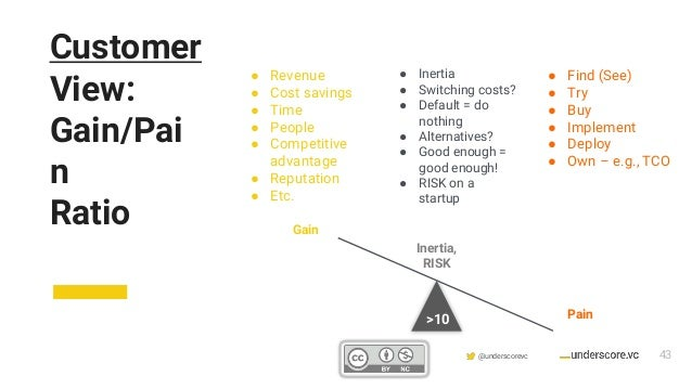 Confidential & Proprietary @underscorevc Customer View: Gain/Pai n Ratio ● Revenue ● Cost savings ● Time ● People ● Compet...