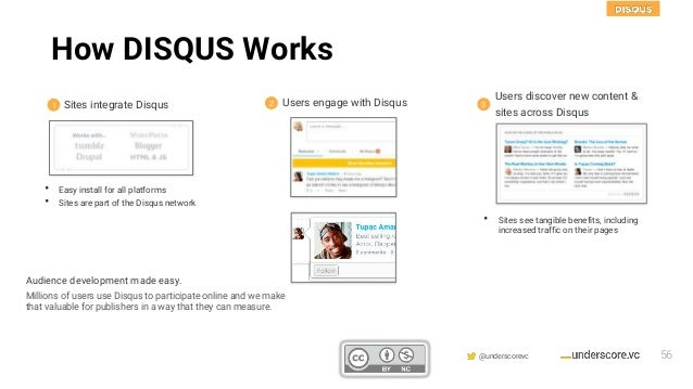Confidential & Proprietary @underscorevc 1 2 3 • Easy install for all platforms • Sites are part of the Disqus network Sit...