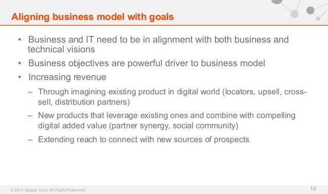 Aligning business model with goals • Business and IT need to be in alignment with both business and technical visions • ...