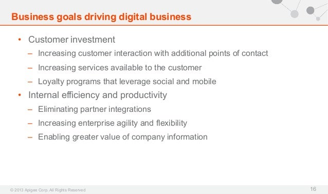 Business goals driving digital business • Customer investment – Increasing customer interaction with additional points o...
