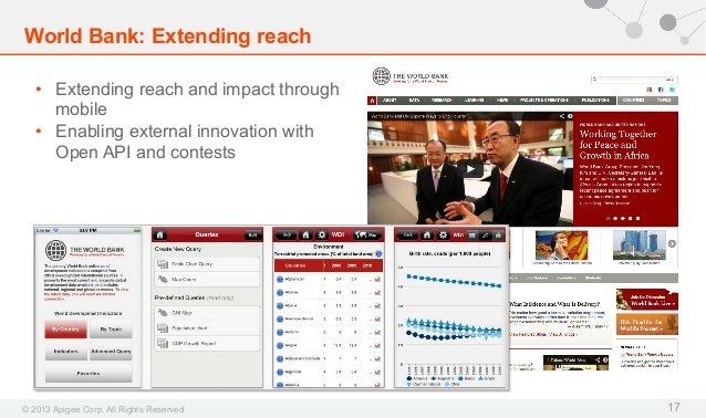World Bank: Extending reach • Extending reach and impact through mobile • Enabling external innovation with Open API and...