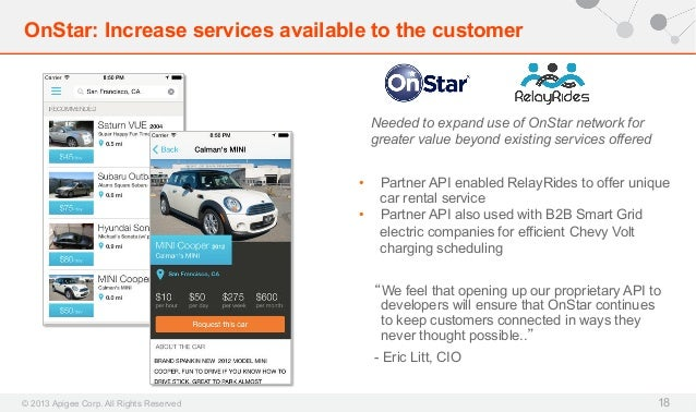 OnStar: Increase services available to the customer  Needed to expand use of OnStar network for greater value beyond exist...