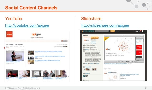 Social Content Channels YouTube  Slideshare  http://youtube.com/apigee  http://slideshare.com/apigee  © 2013 Apigee Corp. ...