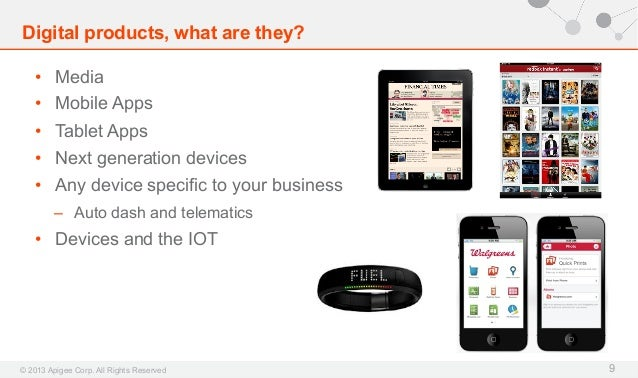Digital products, what are they? • Media • Mobile Apps • Tablet Apps • Next generation devices • Any device specific ...