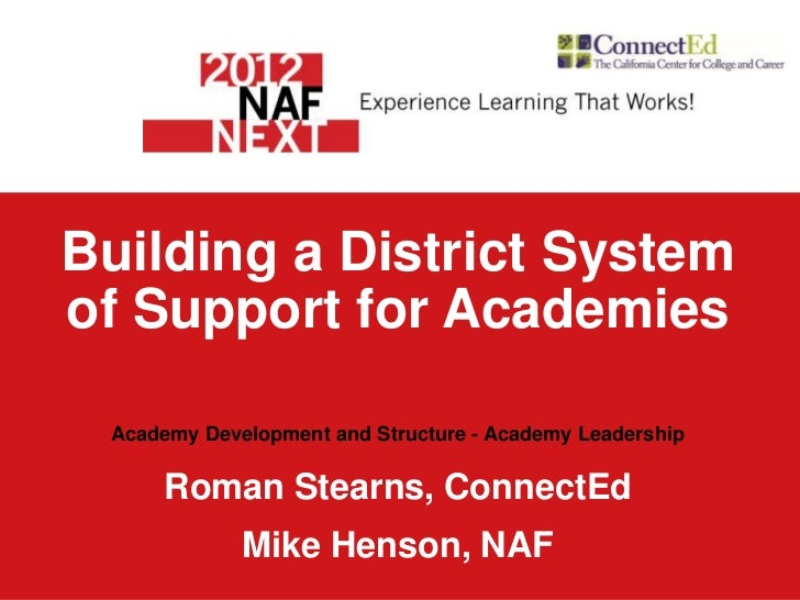 Building a District Systemof Support for Academies Academy Development and Structure - Academy Leadership     Roman Stearn...