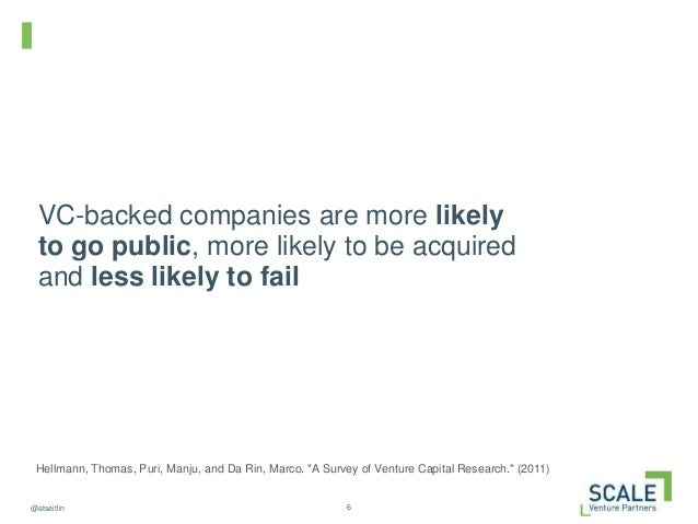 6@atseitlin VC-backed companies are more likely to go public, more likely to be acquired and less likely to fail Hellmann,...