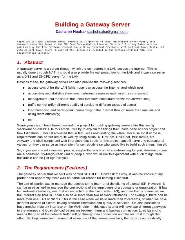 Building a Gateway Server                           Dashamir Hoxha <dashohoxha@gmail.com>Copyright (C) 2009 Dashamir Hoxha...