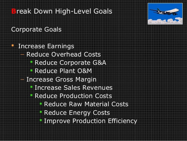 Break Down High-Level Goals Corporate Goals  Increase Earnings − Reduce Overhead Costs  Reduce Corporate G&A  Reduce Pl...